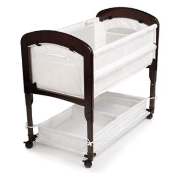 wooden bedside bassinet